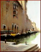 Boats In Water Paintings - Venice cityscape by Schiller