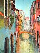 Old Buildings Mixed Media Prints - Venice Print by Dan Haraga