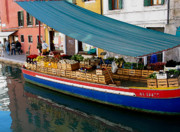 Italian Art Metal Prints - Venice Fresh market Boat Metal Print by ITALIAN ART- Angelica