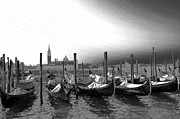 Gondolas Prints - Venice gondolas black and white Print by Rebecca Margraf