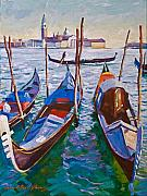 Canals Framed Prints - Venice Gondolas Framed Print by David Lloyd Glover