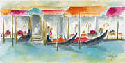 Venezia Paintings - Venice Gondolas by Pat Katz