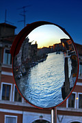 Venise Framed Prints - Venice Grand Canal Mirrored Framed Print by Cedric Darrigrand