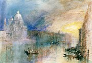 Gondola Posters - Venice Grand Canal with Santa Maria della Salute Poster by Joseph Mallord William Turner