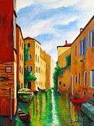 Canal Mixed Media - VENICE Green Waterway by Dan Haraga