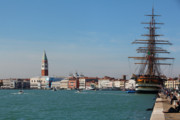 Tall Ship Prints - Venice Harborfront Print by George Oze