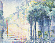 Reflecting Trees Paintings - Venice by Henri-Edmond Cross