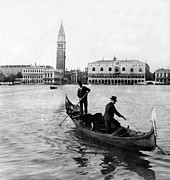 Gondolier Prints - Venice Italy - c 1902 Print by International  Images