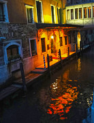 Venice Italy - Canal At Night Print by Gregory Dyer