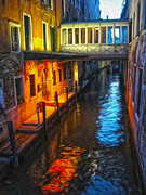 Venice Italy - Colorful Canal At Night Print by Gregory Dyer