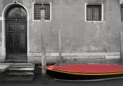 Row Boat Prints - Venice, Italy A Small Boat With A Red Print by Philippe Widling