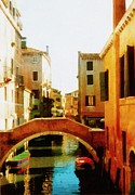 Blue Brick Digital Art Prints - Venice Italy Canal with Boats and Laundry Print by Michelle Calkins