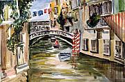 Bridge Drawings Prints - Venice Italy Print by Mindy Newman