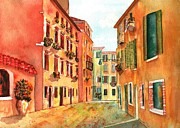 Rainbow Of Colors Framed Prints - Venice Italy Street Framed Print by Sharon Mick