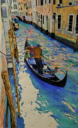 Gondolier Paintings - Venice Italy by Terry Honstead