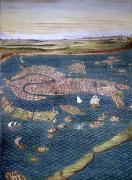 Birds Eye View Framed Prints - Venice: Map, 16th Century Framed Print by Granger