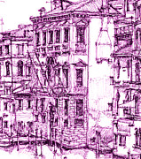 Canals Drawings Framed Prints - Venice palace in purple Framed Print by Building  Art