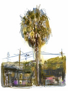 Los Angeles Mixed Media Prints - Venice Palm Tree Print by Russell Pierce