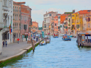 Waterway Digital Art - Venice pastel-colored by Heiko Koehrer-Wagner