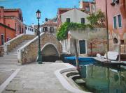 Sicily Mixed Media Prints - Venice Piazzetta and bridge Print by ITALIAN ART- Angelica
