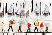 Dock Drawings Posters - Venice Rain Poster by Julia Collard