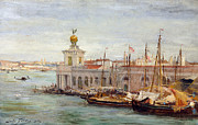 Flags Paintings - Venice by Sir Samuel Luke Fields