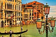 Gondola Digital Art Prints - Venice Street Lamp Print by Mick Burkey