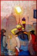 Italy Town Large Paintings - Venice sunset by Pelagatti