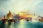 Italian Sunset Painting Posters - Venice Poster by Thomas Moran