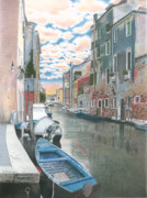 City Scene Drawings Originals - Venise by Wilfrid Barbier