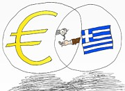 News Mixed Media - Venn Diagram Euro Greece Handout by OptionsClick BlogArt