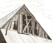 Old Barn Pen And Ink Framed Prints - Ventilated Framed Print by Pat Price