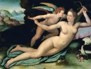 Doves Posters - Venus and Cupid Poster by Alessandro Allori