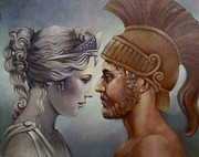 Greek Sculpture Painting Prints - Venus and Mars Print by Geraldine Arata