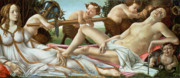 Mythology Painting Posters - Venus and Mars Poster by Sandro Botticelli