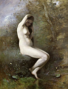 Venus Framed Prints - Venus Bathing Framed Print by Jean Baptiste Camille Corot