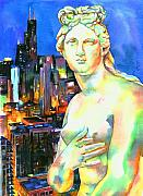 Skylines Paintings - Venus in the City by Christy  Freeman