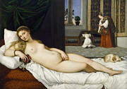 Aphrodite Paintings - Venus of Urbino before 1538 by Tiziano Vecellio