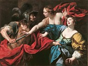  Drapery Paintings - Venus preventing her son Aeneas from killing Helen of Troy by Luca Ferrari