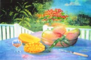 Mangoes Framed Prints - Veranda Mangoes Framed Print by Ky Wilms