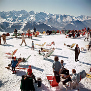 Outdoor Chair Posters - Verbier Vacation Poster by Slim Aarons