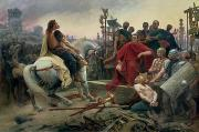 Arms Prints - Vercingetorix throws down his arms at the feet of Julius Caesar Print by Lionel Noel Royer