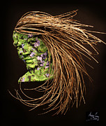 Woman Reliefs Metal Prints - Verdant Metal Print by Adam Long
