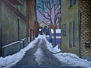 Back Drawings - Verdun Alley in Early Spring by Reb Frost