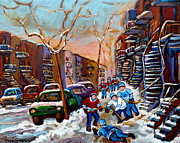 Montreal Winter Scenes Prints - Verdun Montreal Hockey Game Near Winding Staircases and Row Houses Montreal Winter Scene Print by Carole Spandau