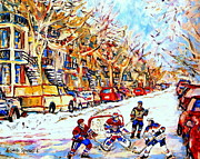 Hockey Painting Framed Prints - Verdun Street Hockey Game Goalie Makes The Save Classic Montreal Winter Scene Framed Print by Carole Spandau