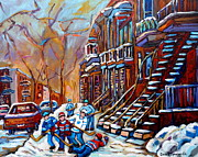 Montreal Winter Scenes Prints - Verdun Street Scene Hockey Game Near Winding Staircases Vintage Montreal City Scene Print by Carole Spandau