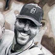 Baseball Drawings - Verlander by Justin Keener