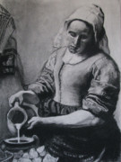 Maid Drawings Posters - Vermeers Milkmaid in Charcoal Poster by Art Nomad Sandra  Hansen