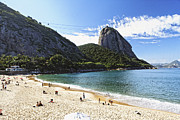 Beach Activities Prints - Vermelha Beach with Sugarloaf Print by George Oze